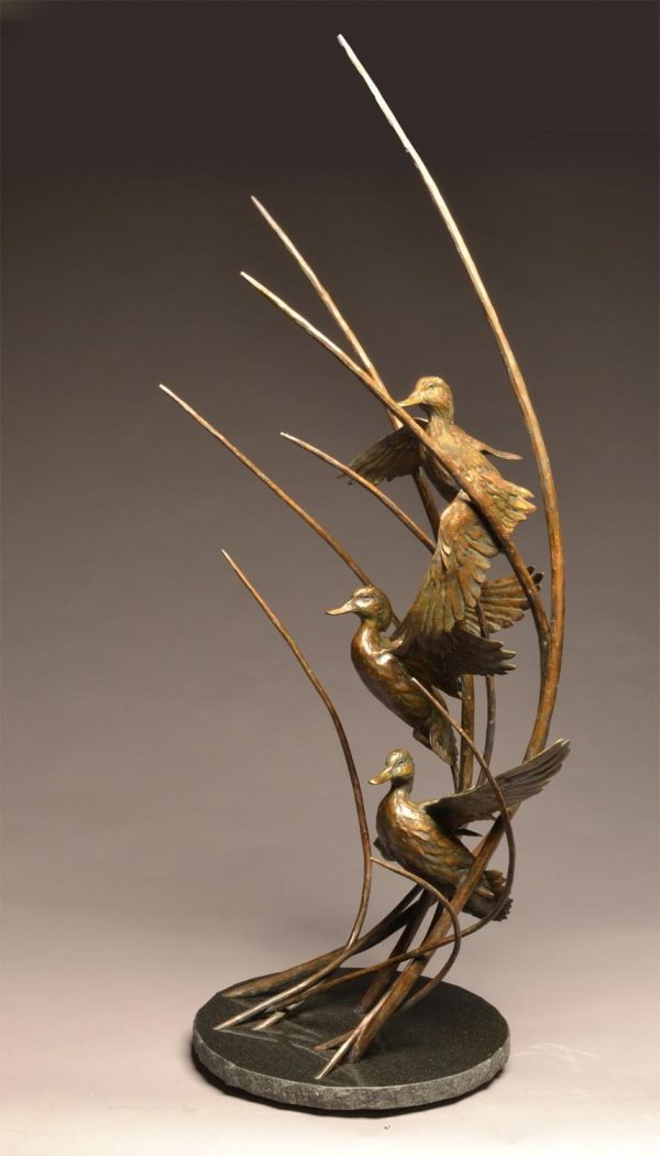 "Straight Flush  Three Bronze Green-Winged Teal Sculpture  Edition of 30  52"" H x 25"" W x 20"" D - Savides Sculpture Portfolio Collection"