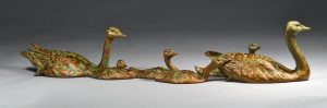 """Sunday Afternoon  Bronze Canada Goose Family Sculpture  Edition of 30  6""""H x 28.5""""W x 6""""D  SOLD OUT - Savides Sculpture Portfolio Collection"""