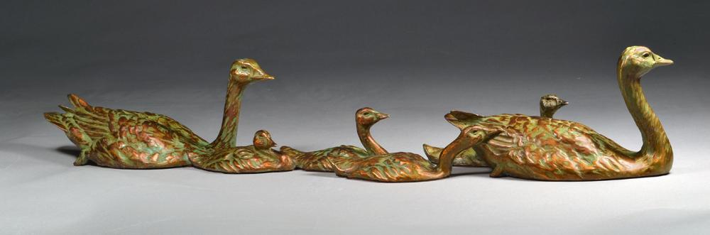 """Sunday Afternoon"" Bronze Canada Goose Family Sculpture"
