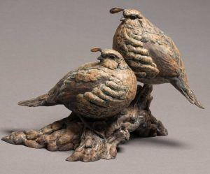 "Top Notch Bronze California Valley Quail Sculpture Edition of 35  8.5""H x 11.5""W x 6.5""D  - Savides Sculpture Portfolio Collection"