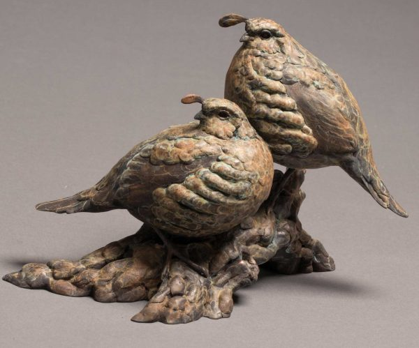 "Top Notch Bronze California Valley Quail Sculpture Edition of 35  8.5""H x 11.5""W x 6.5""D  - Savides Sculpture Portfolio Collection"