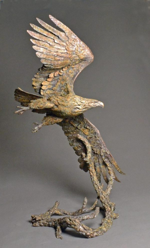 "Top Gun  Lifesize Bronze Bald Eagle  Edition 18  65"" H x 29""W x 26""D - Savides Sculpture Portfolio Collection"