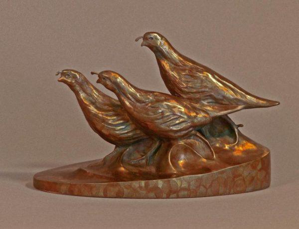 """Valley Girls  Bronze Valley Quail Trio  Edition of 32  5.5""""H x 8.5""""W x 4""""D - Savides Sculpture Portfolio Collection"""