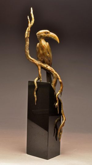 "Von der Deckens Hornbill  Bronze Von der Deckens Hornbill Sculpture  Edition of 12   29"" H x 6"" D x 6"" D - Savides Sculpture Portfolio Collection"