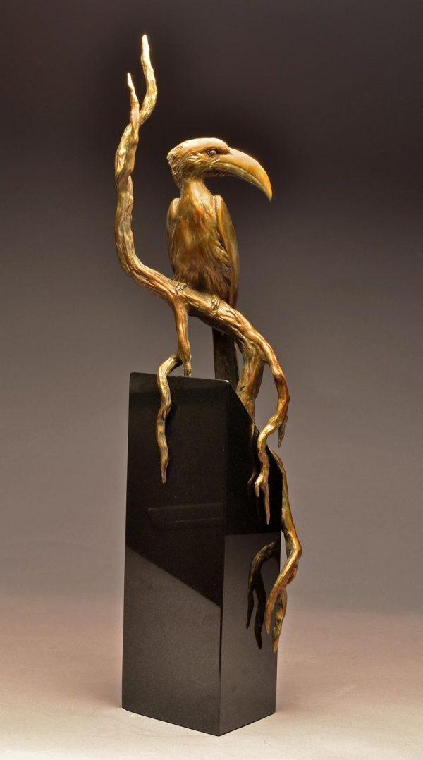 """Von der Deckens Hornbill  Bronze Von der Deckens Hornbill Sculpture  Edition of 12   29"""" H x 6"""" D x 6"""" D - Savides Sculpture Portfolio Collection"""