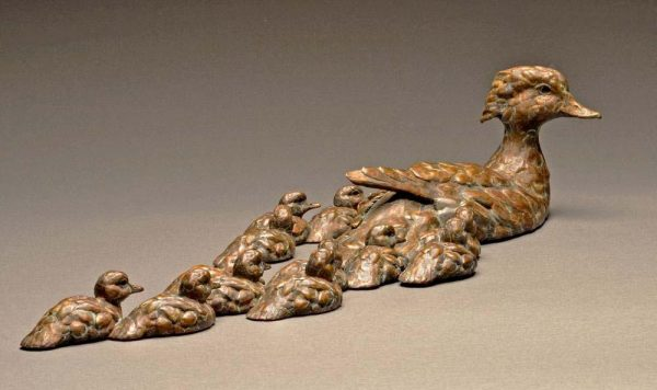 "Watchful Eye  Woodduck Hen and Brood, Bronze Sculpture Edition of 35  4""H x 22.5"" W x 9""D - Savides Sculpture Portfolio Collection"