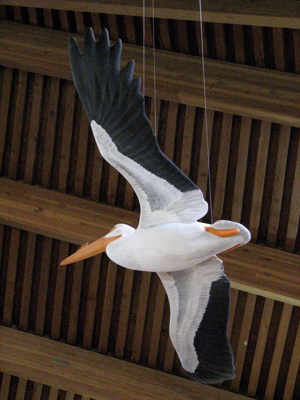 White Pelican Reproduction <br> Anaho Island Visitor Center - Nixon, Nevada - Savides Sculpture Sculpture Commissions One of a kind Sculpture