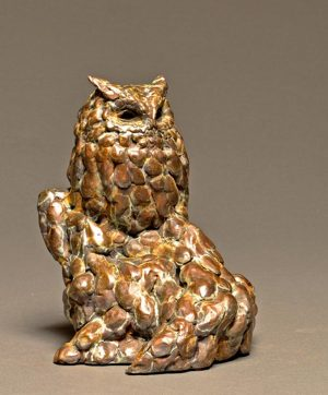"Wise GuyBronze Screech Owl SculptureEdition of 3010""H x 8""W x 8""D - Savides Sculpture Portfolio Collection"