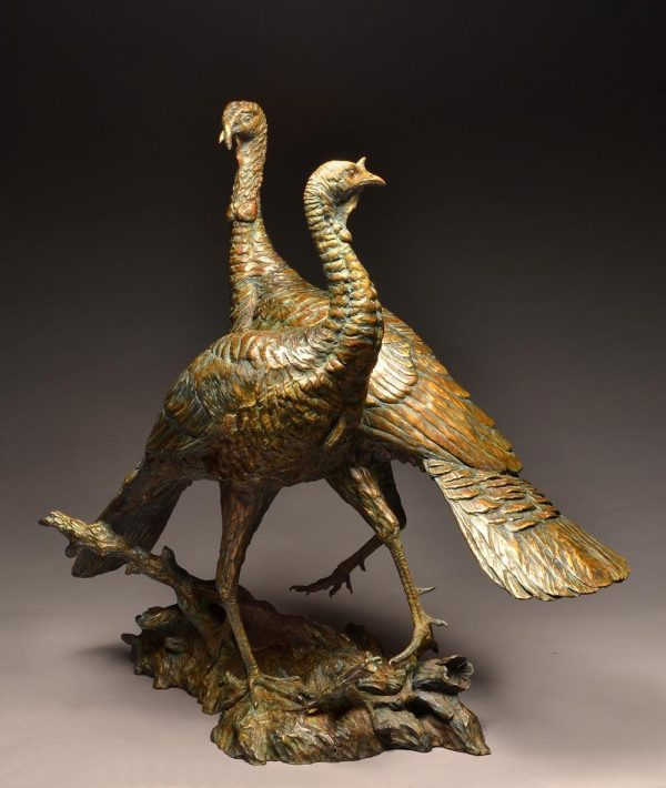 "You Said What?  Bronze Wild Turkey Sculpture Edition of 10  37"" H x 20"" W x 38"" WDSOLD OUT - Savides Sculpture Portfolio Collection"