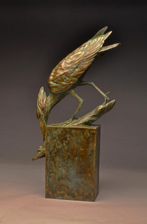 "Zambezi Stalker  Bronze Hammerkop Sculpture  Edition of 12  26"" H x 13"" W x 5"" D - Savides Sculpture Portfolio Collection"