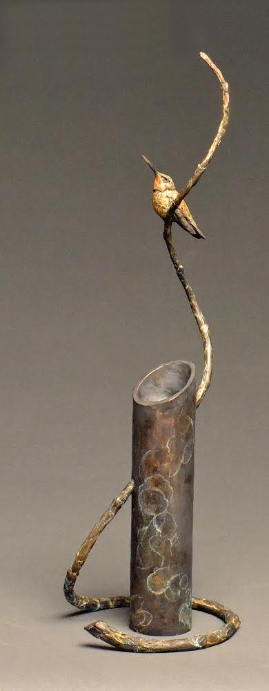 """Flower Child"" Bronze Hummingbird 21""H x 7""W x 6""D $2000 Edition 35"