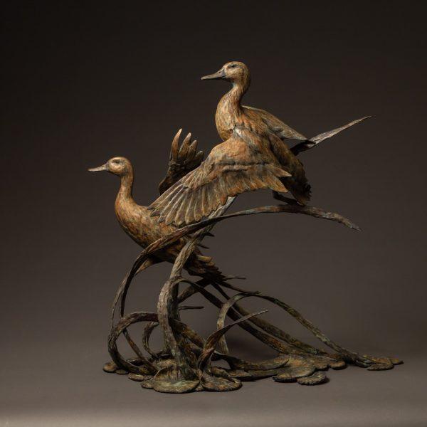 """""""Pins & Curls"""" Bronze Mallard Duck & Bronze Pintail Duck Edition 16 33"""" H x 25.5"""" W x 33"""" D"""