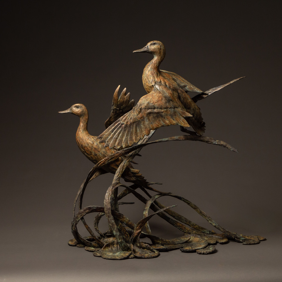 """Pins & Curls"" Bronze Mallard Duck & Bronze Pintail Duck Edition 16 33"" H x 25.5"" W x 33"" D"