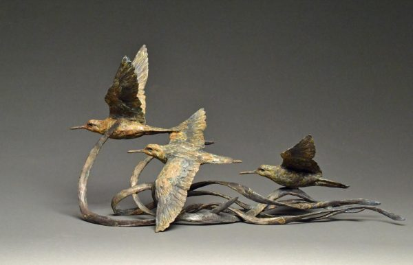 """Surfin' Safari"" Bronze Dunlin Shorebird Trio Edition 29 12"" H x 26"" W x 14.5"" D $2900"