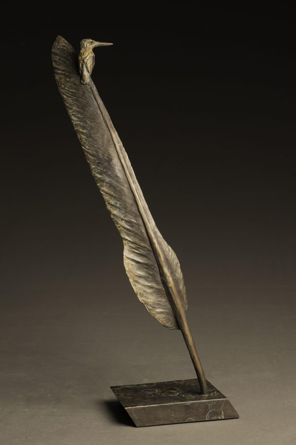 """African Extremes"" Bronze Kingfisher on Kori Bustard Feather Sculpture Limited Edition Bronze Sculpture L/E 35 25"" H x 12"" W x 6"" D"