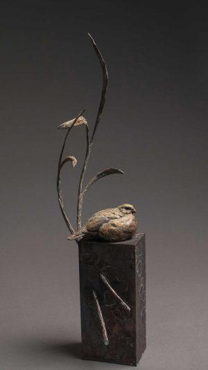 """Summer Breeze"" Bronze Bob White Quail Sculpture Limited Edition Bronze Sculpture L/E 35 26"" H x 7"" W x 9"" D"