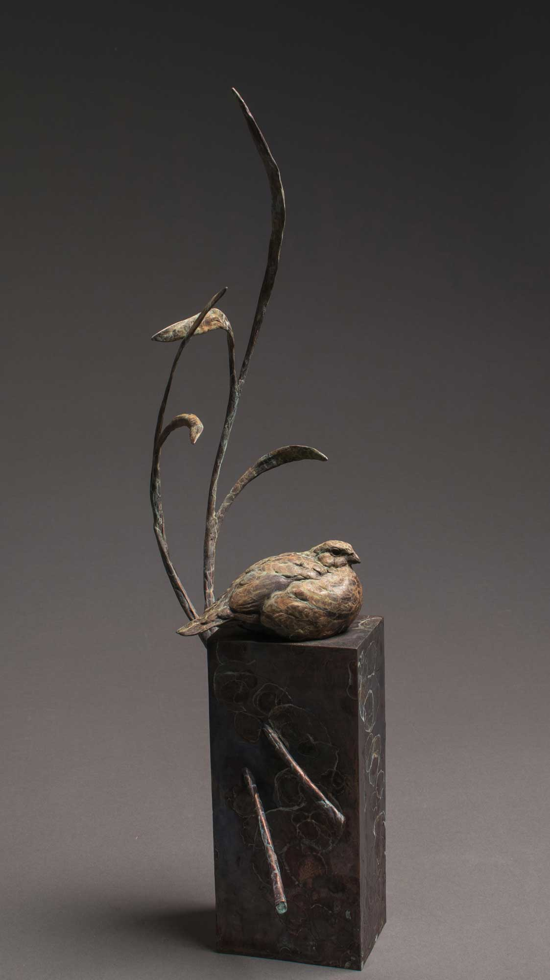 """Summer Breeze"" Bronze Bob White Quail Sculpture Limited Edition Bronze Sculpture L/E 35 26"" H x 7"" W x 9"" D"