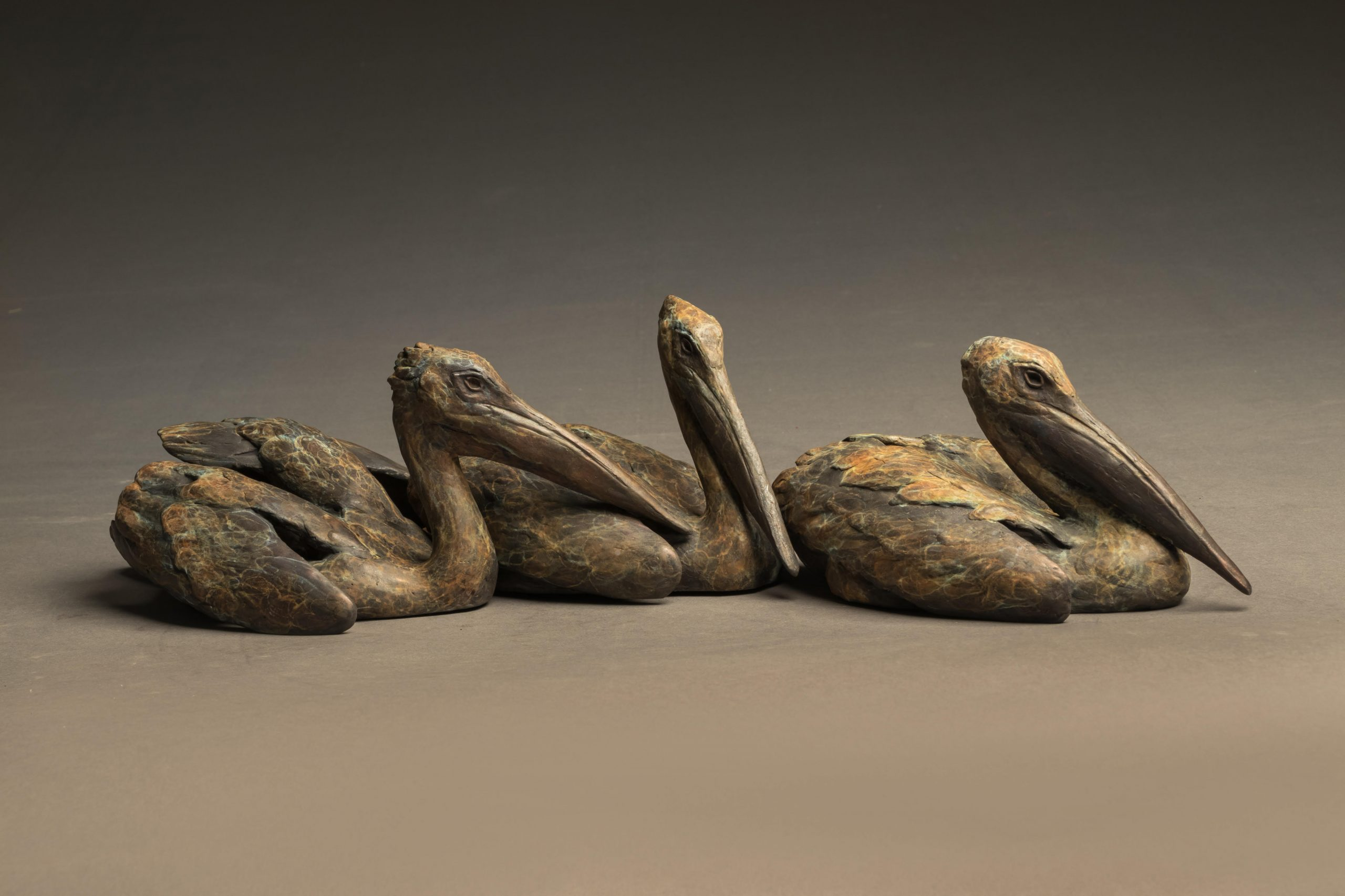 """Tres Pescadores"" Bronze White Pelican Trio Sculpture Limited Edition Bronze Sculpture L/E 35 6"" H x 23"" W x 8"" D"