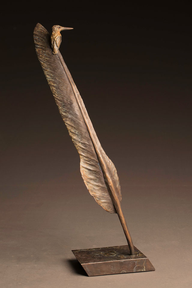 """African Extremes"" Bronze Kingfisher on Kori Bustard Feather Sculpture"