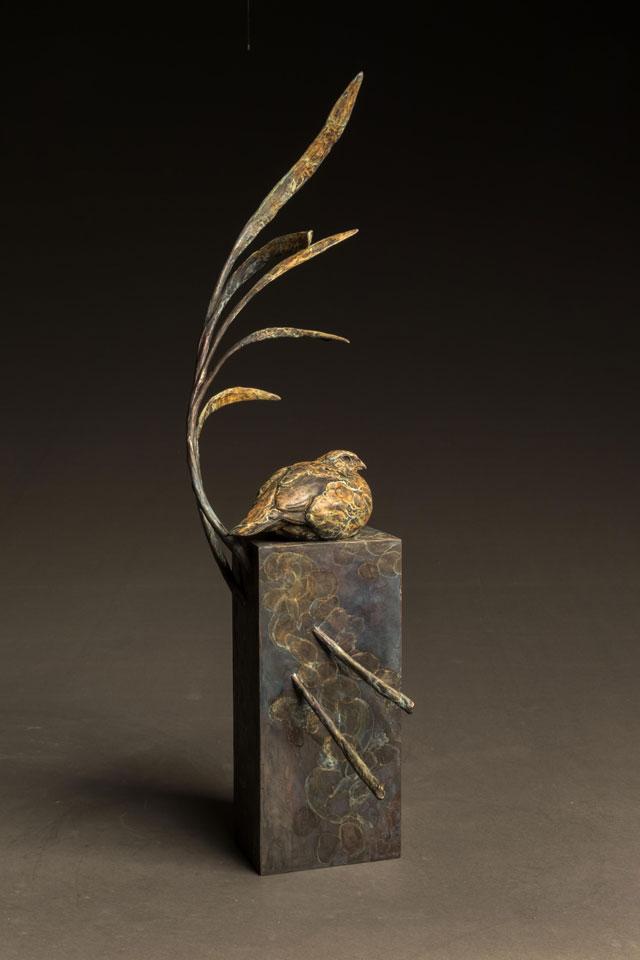 """Summer Breeze"" Bronze Bob White Quail Sculpture"