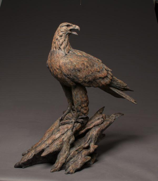 """High Power"" by Stefan Savides Life-sized Golden Eagle Bronze 32"" x 32"" x 16"""